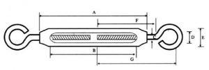 Korean Type Malleable Turnbuckle Sketch