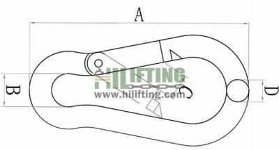 Stainless Steel Carabiner Snap Hook DIN5299 Form C Sketch