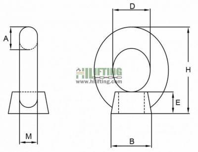 Stainless Steel DIN582 Eye Nut Sketch