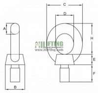 Stainless Steel Eye Bolt DIN 580 Sketch