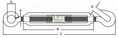 Stainless Steel JIS Type Turnbuckle Eye and Hook Sketch